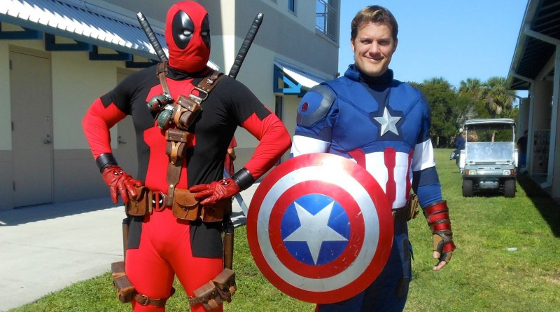 Chris and Josh pose as Deadpool and Captain America