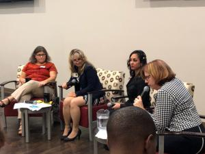 Panel, from left to right Dr. Maria Sgambati, Gayle Gudeah, Dr. Uruena-Agnes, Moderator Lisa Vanover