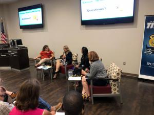Panel, from left to right Dr. Maria Sgambati, Gayle Gudeah, Dr. Uruena-Agnes, Moderator Lisa Vanover (2)